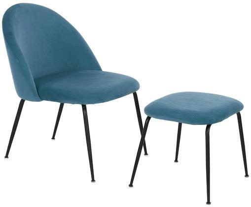 Samt-Lounge-Set Villum, 2-tlg., Bezug: Samt (Polyester) 25.000 S, Füße: Metall, beschichtet, Bezug: Samt (Polyester) 25.000 S, Füße: Metall, beschichtet, Bezüge: BlauFüße: Schwarz, matt, Sondergrößen