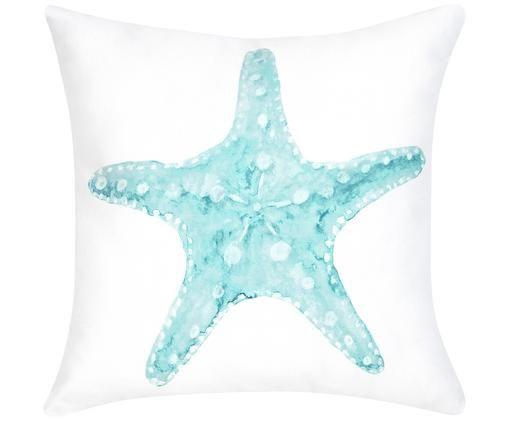 Housse de coussin à imprimé aquarelle Korallion, Bleu, blanc