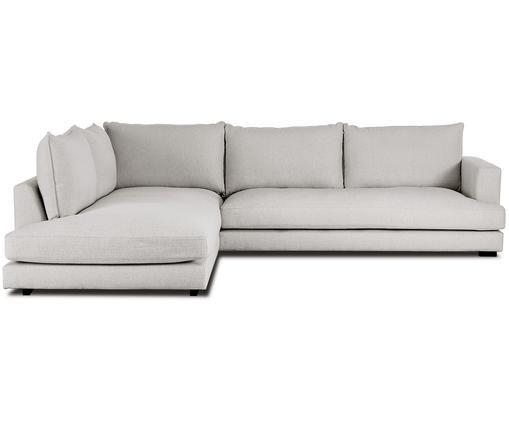 Grand canapé d'angle Tribeca, Revêtement: gris Pieds: noir