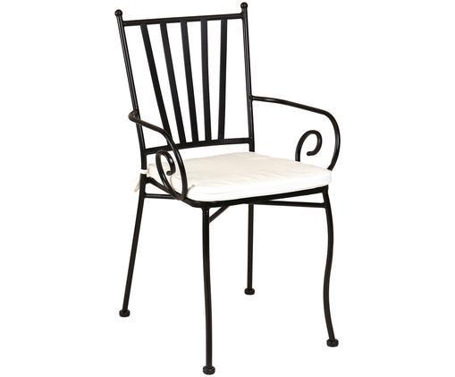 Garten-Armlehnstuhl aus Metall mit Sitzpolster, Gestell: Metall, pulverbeschichtet, Bezug: Polyester, Schwarz, Weiß, B 53 x T 53 cm
