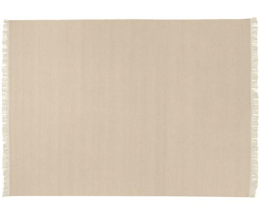 Tappeto in lana tessuto a mano con frange Rainbow, Retro: cotone, Sabbia, Larg.140 x Lung. 200 cm