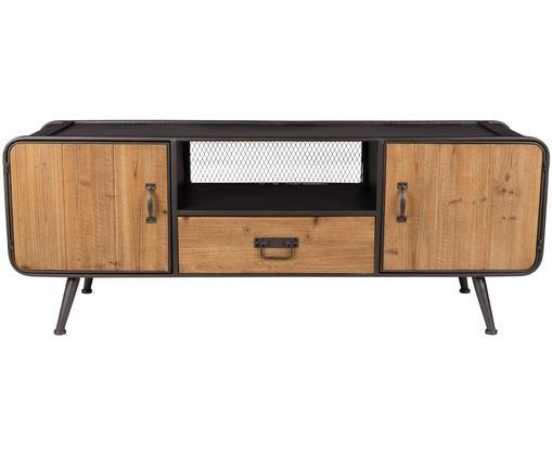 Credenza bassa stile industriale Gin, Ante, cassetto: legno di abete Maniglie, ante e piedi: grigio, Larg. 135 x Alt. 51 cm