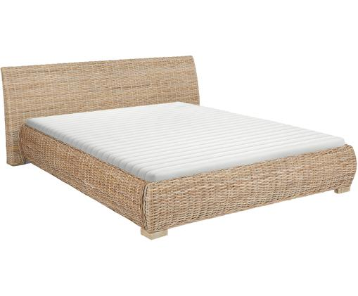 Rotan bed Kubu, Lijst: getint rotan, Rotankleurig, 160 x 200 cm
