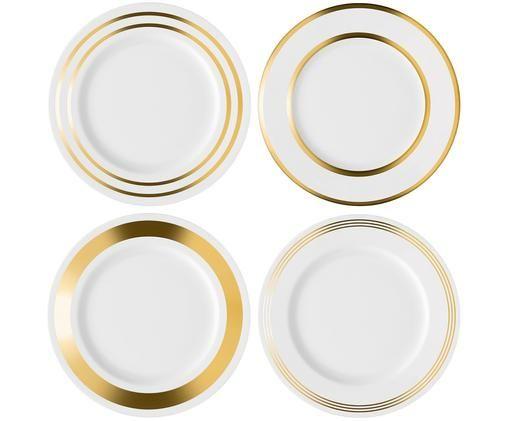 Set piatti piani Deco, 4 pz., Bianco, dorato