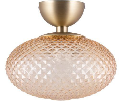 Lampa sufitowa Jackson, Odcienie bursztynowego, mosiądz, Ø 28 x W 25 cm