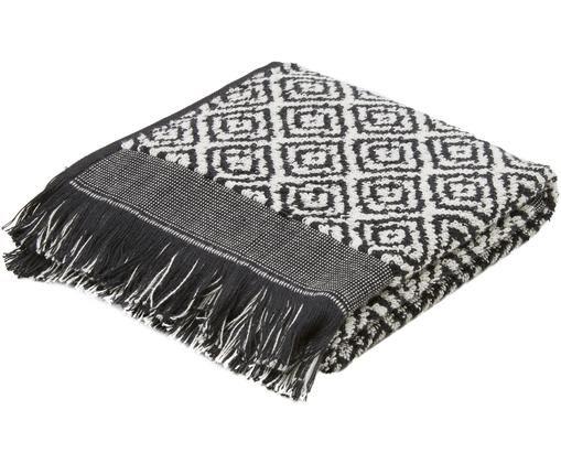 Asciugamano per ospiti Morocco, 2 pz., Cotone, qualità media, 500 g/m², Nero, bianco, Larg. 38 x Lung. 55 cm