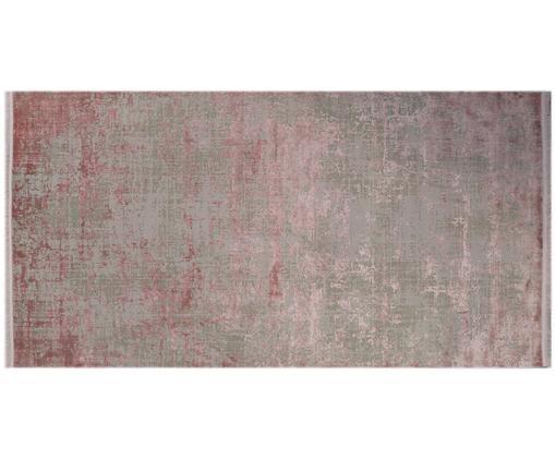Tappeto vintage con frange Cordoba, Retro: cotone, Grigio, tonalità rosa, Larg. 80 x Lung. 150 cm (taglia xs)