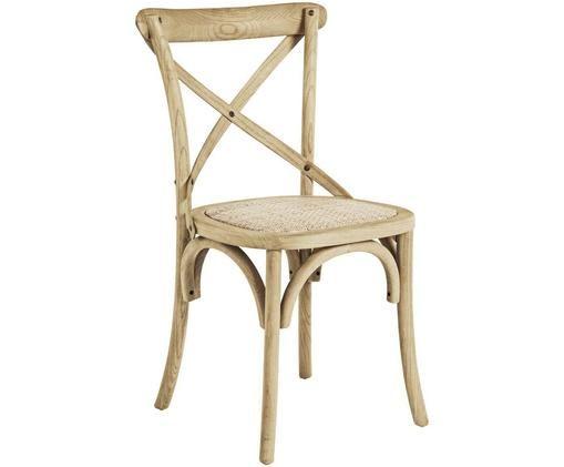 Sedia Cross, Seduta: rattan, Struttura: legno di olmo verniciato , Rattan, legno di olmo, Larg. 42 x Prof. 46 cm