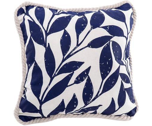 Cuscino con bordatura e imbottitura Johanna, Poliestere, Bianco, blu scuro, Larg. 45 x Lung. 45 cm