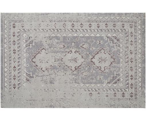 Alfombra artesanal de chenilla Rebel, estilo vintage, Parte superior: 95%algodón, 5%poliéster, Reverso: algodón, Gris claro, crema, An 120 x L 180 cm (Tamaño S)