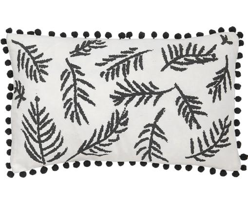Federa arredo con motivo floreale e pompon Jungle, Cotone, Bianco, nero, Larg. 30 x Alt. 50 cm