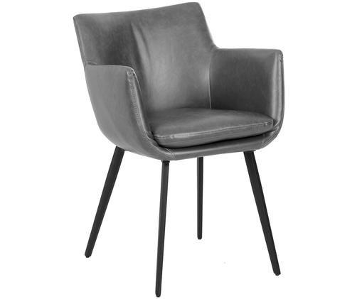 Sedia con braccioli in similpelle Cameron, Rivestimento: similpelle (poliuretano) , Gambe: metallo verniciato a polv, Grigio, Larg. 53 x Prof. 59 cm