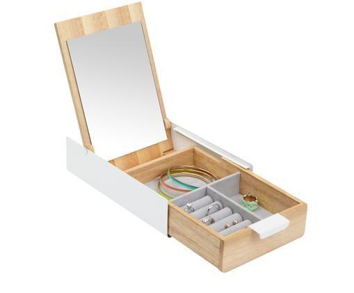 Schmuckbox Reflexion, Box: Metall, lackiert, Holz, Box: Weiß, Holz<br>Innenfutter: Grau<br>Deckel innen: Spiegelglas, 24 x 6 cm