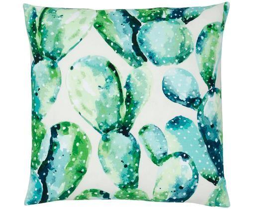 Kussenhoes Tobin, 100% katoen, Groen, crèmewit, 40 x 40 cm