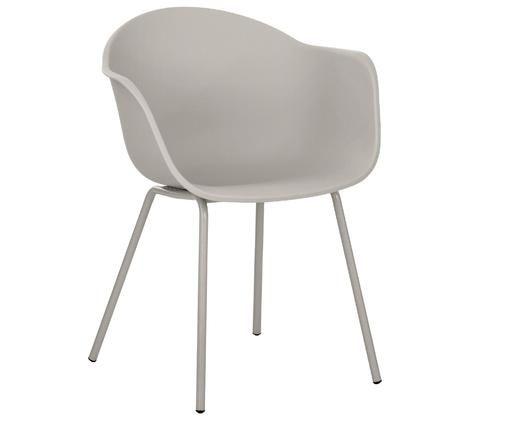 Kunststoff-Armlehnstuhl Claire mit Metallbeinen, Sitzschale: Kunststoff, Beine: Metall, pulverbeschichtet, Beigegrau, B 61 x T 58 cm