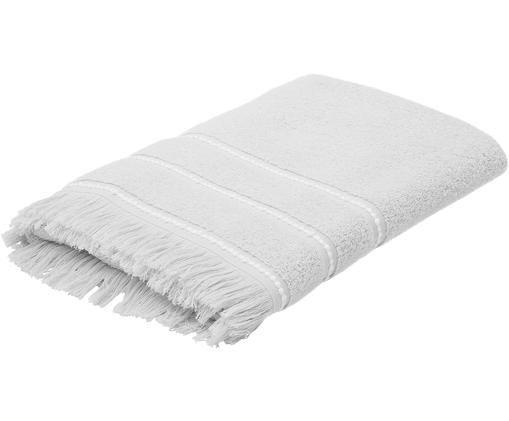 Asciugamano con bordo ricamato Britta, 94% cotone, 6% poliestere qualità media, 500g/m², Grigio/bianco, Telo bagno