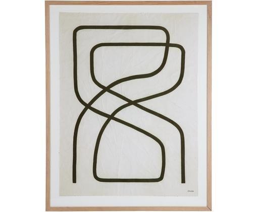 Ingelijste canvasdoek Movement, Eikenhout, glas, papier, linnen, Beige, zwart, wit, 75 x 95 cm
