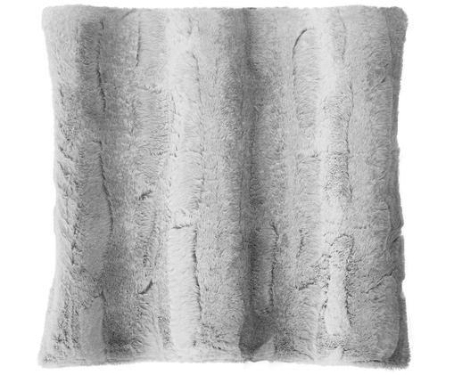 Funda de cojín de piel sintética Alvin, 100%poliéster (piel sintética), Gris claro, An 45 x L 45 cm