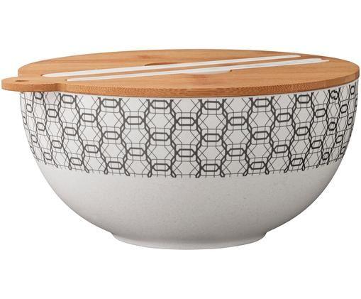 Set para ensalada Babette, 4pzas., Blanco crudo, gris oscuro, bambú