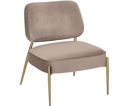Samt-Sessel Viggo, Bezug: Samt (Polyester) 50.000 S, Beine: Metall, pulverbeschichtet, Taupe, 62 x 76 cm