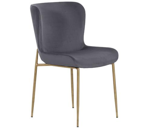 Chaise rembourrée en velours Tess, Revêtement: gris Pieds: couleur dorée, léger brillant