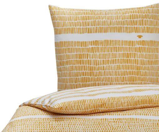 Wendebettwäsche Linen in Gelb/Weiß, gestreift, Baumwolle, Gelb, Senfgelb, Weiß, 135 x 200 cm