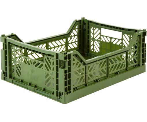 Cesta media pieghevole ed impilabile Midi, Materiale sintetico riciclato, Cachi, Larg. 40 x Alt. 14 cm