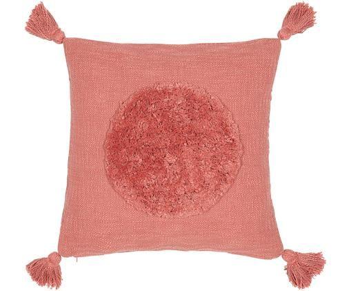 Housse de coussin en coton bio avec houppes Sun, Rouge corail