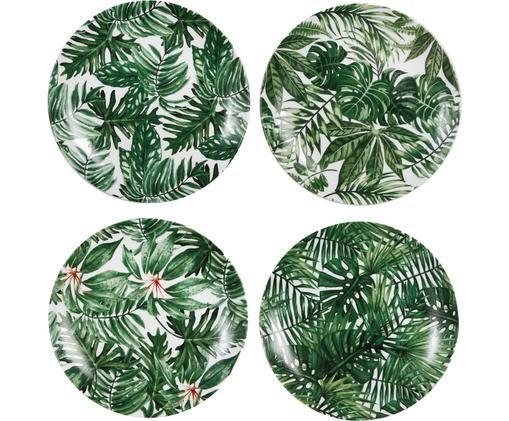 Set piatti da colazione Leaves, 4 pz., Porcellana, Verde, bianco, Ø 20 cm