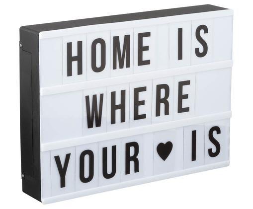 Lampa dekoracyjna LED Inspiration, Pudełko: czarny, biały Litery: transparentny, czarny