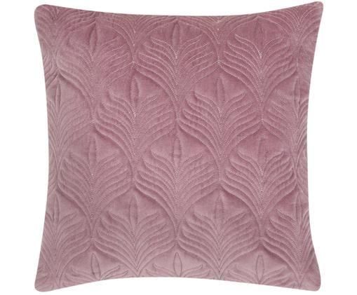 Watowana poszewka na poduszkę z aksamitu Celine, Brudny różowy, S 40 x D 40 cm