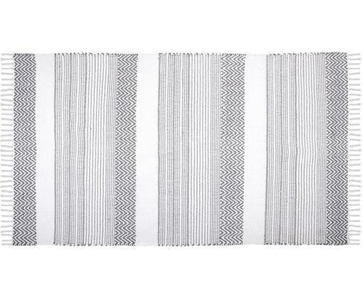 Baumwollteppich Iceland mit grafischem Muster in Grau/Weiß, Baumwolle, Grau, Weiß, B 90 x L 150 cm (Größe XS)
