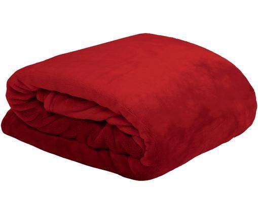 Weiches Fleece-Plaid Doudou, Polyester, Rot, 130 x 160 cm
