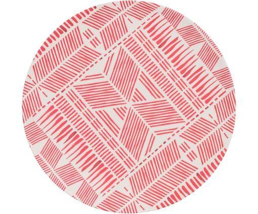 Piatto da colazione in bambù Pintura, Bambù, Rosso, bianco, Ø 20 x Alt. 1 cm