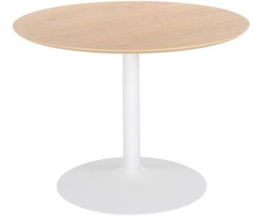 Tavolo da pranzo rotondo Mallorca, Piano d'appoggio: pannello di fibra a media, Piano d'appoggio: impiallacciato rovere Tavolino da salotto: bianco opaco, Ø 100 x Alt. 75 cm