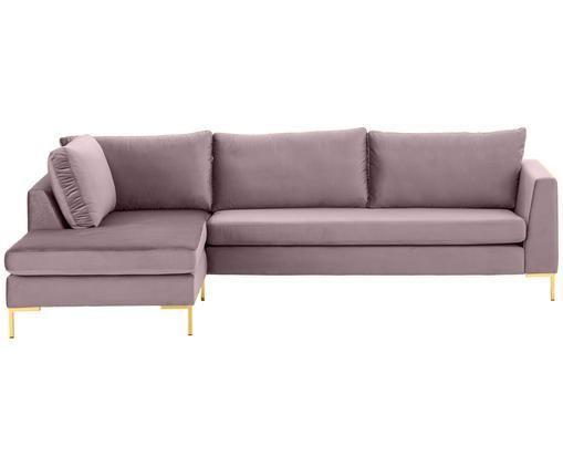 Samt-Ecksofa Luna, Bezug: Samt (Polyester) 80.000 S, Gestell: Massives Buchenholz, Altrosa, B 280 x T 184 cm