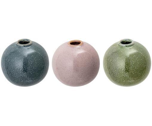 Wand-Vasen-Set Multi, 3-tlg., Steingut, Blau, Rosa, Grün, 9 x 9 cm