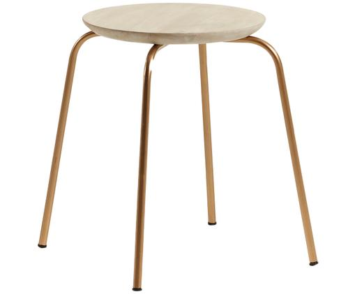 Hocker Ren, stapelbar, Sitzfläche: Mangoholz, naturbelassen, Beine: Metall, lackiert, Mangoholz, Goldfarben, Ø 40 x H 45 cm