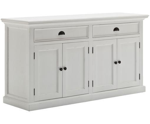 Ladekast Hutch, Frame en deuren: wit. Handvatten: zwart