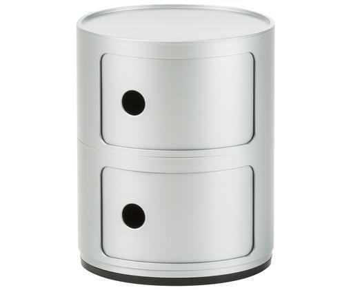 Comodino di design con cassetti Componibile, Materiale sintetico, Argentato, Ø 32 x Alt. 40 cm