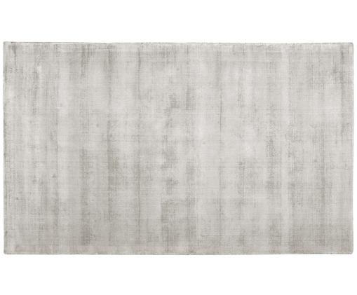 Handgeweven viscose vloerkleed Jane, Bovenzijde: 100% viscose, Onderzijde: 100% katoen, Lichtgrijs-beige, 90 x 150 cm