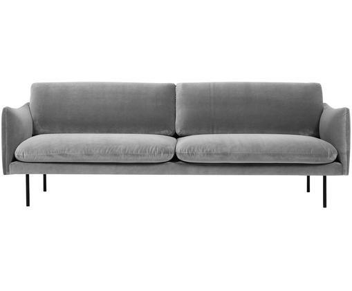 Samt-Sofa Moby (3-Sitzer), Bezug: Samt (Hochwertiger Polyes, Gestell: Massives Kiefernholz, Füße: Metall, pulverbeschichtet, Grau, B 220 x T 95 cm