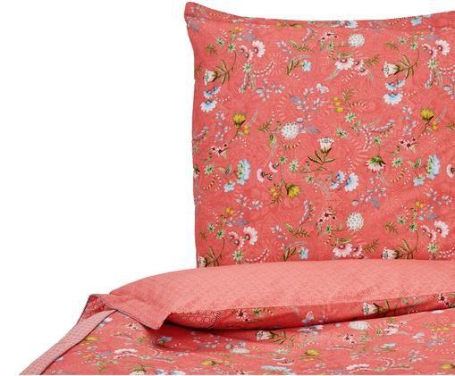 Perkal-Wendebettwäsche La Majorelle mit Blumenmuster, Pink, Mehrfarbig