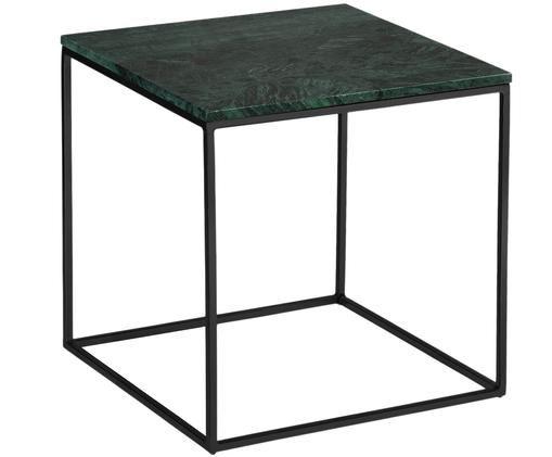 Stolik pomocniczy z zielonym blatem z marmuru Alys, Blat: marmur naturalny, Stelaż: metal malowany proszkowo, Blat: szary marmur, lekko błyszczący Stelaż: czarny, matowy, S 50 x W 50 cm