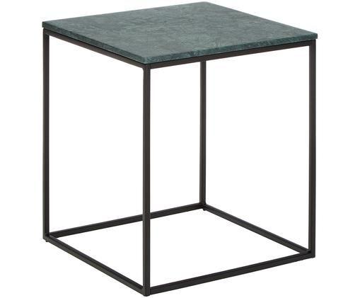 Beistelltisch Alys mit grüner Marmorplatte, Tischplatte: Marmor, Gestell: Metall, pulverbeschichtet, Tischplatte: Grüner Marmor, leicht glänzend Gestell: Schwarz, matt, 45 x 50 cm