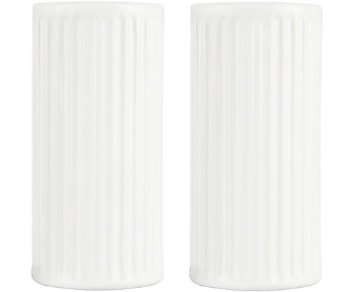 Solniczka i pieprzniczka Groove, Porcelana, Biały, Ø 8 x W 5 cm