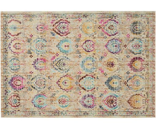 Tappeto in polipropilene a pelo corto Kashan Vintage, Beige, multicolore