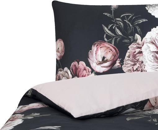 Baumwollsatin-Bettwäsche Blossom mit Blumenprint, Webart: Satin Fadendichte 210 TC, Mehrfarbig, Schwarz, 135 x 200 cm