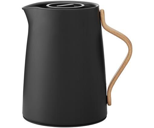 Čajová konvice sfiltrem Emma, speciální edice, Vnější strana: matná černá Vnitřní strana: ocel Úchyt: bukové dřevo