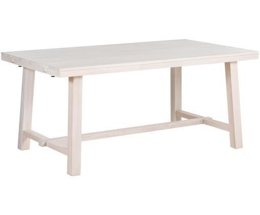 Tavolo da pranzo allungabile in legno massiccio Brooklyn in legno di quercia, Legno di quercia, bianco latteo